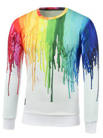 Outfits Colorful Paint Dripping Print Round Neck Sweatshirt
