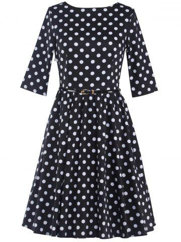 Outfit Belted Polka Dot A-Line Dress BLACK 2XL