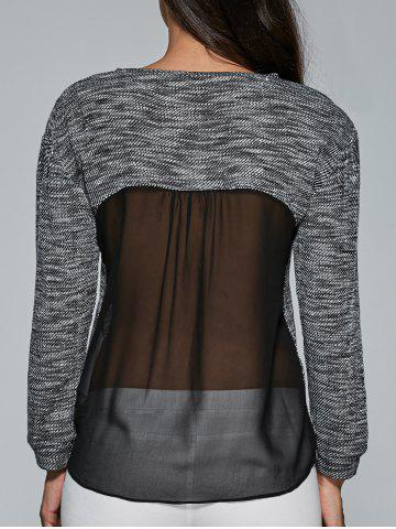 Chic Heathered Sheer Back Blouse