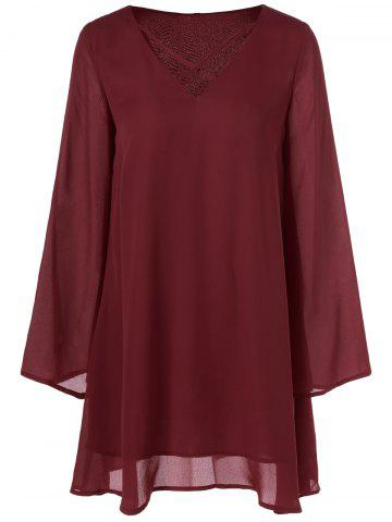 Sale Cut Out Flare Sleeve Smock Dress