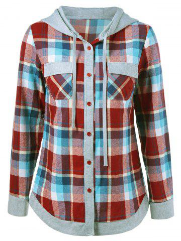 Single Breasted Double Pockets Plaid Hoodie - Checked - S