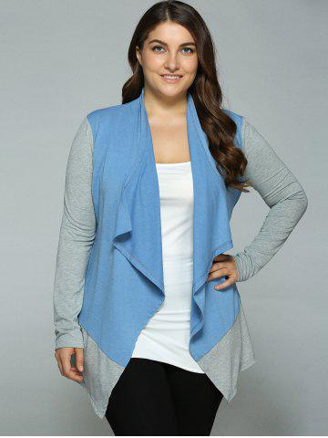 Plus Size Spliced Asymmetrical Cardigan - Blue+gray - Xl