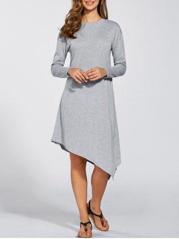 Store Long Sleeves Asymmetric Midi Dress LIGHT GRAY XL