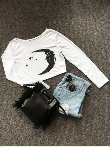 Cheap Long Sleeve Moon Star Crop Top