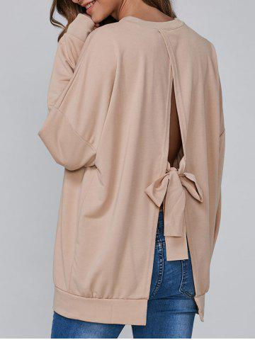 Fashion Open Back Bowknot Loose Sweatshirt