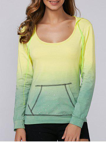 Online Ombre Rhinestone Design Hoodie YELLOW AND GREEN XL