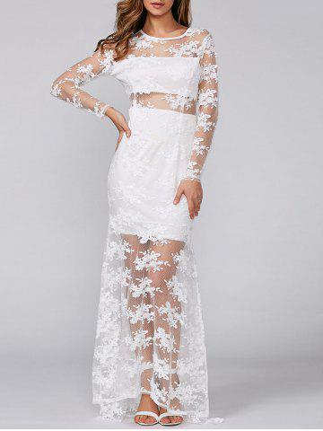 Shop See-Through Lace Slimming Maxi Dress