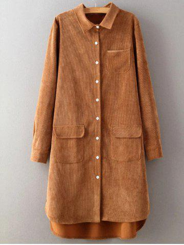 High Low Single Breasted Corduroy Dress - EARTHY L