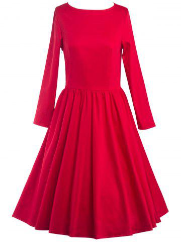 Latest Long Sleeve Fit and Flare Dress RED 2XL