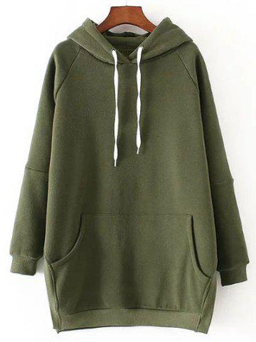 Hot Side Slit Fleece Drawstring Hoodie
