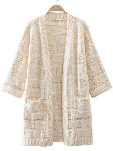 Chic 3/4 Sleeves Pocket Design Textured Long Cardigan