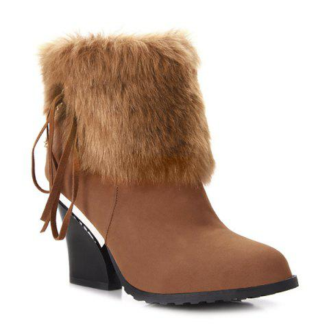 Best Chunky Heel Faux Fur Chain Short Boots