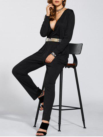 Store Long Sleeves Plunging Neck Ruched Jumpsuit