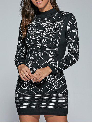 Latest Abstract Print Long Sleeve Dress