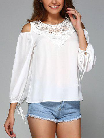 Store Cold Shoulder Tie Sleeve Blouse