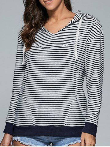 Fashion Striped Contrast Trim Drawstring Hoodie