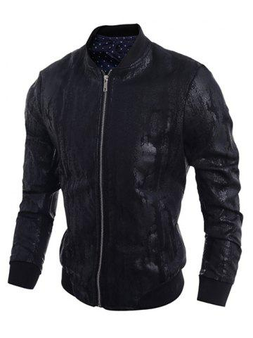 Sale Stand Collar Crack Design PU-Leather Zip-Up Bomber Jacket