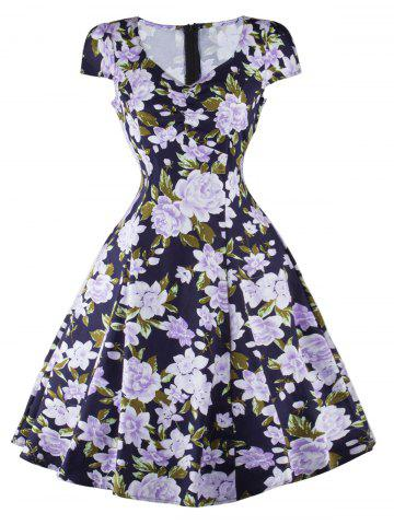Store Floral Cap Sleeve Swing Fit and Flare Dress BLUE 2XL
