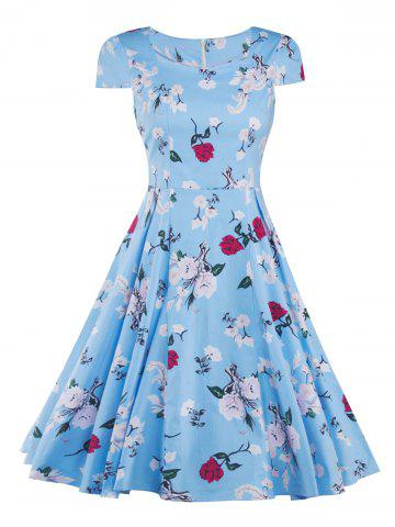 Fancy Cap Sleeve Vintage Floral Print Fit and Flare Dress BLUE XL
