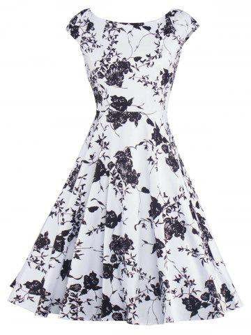 Best Floral Print Vintage Fit and Flare Dress WHITE/BLACK 2XL