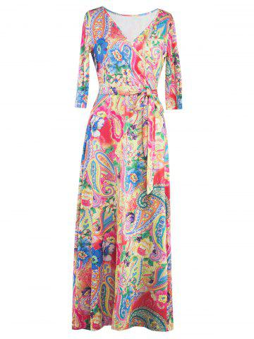 Trendy Wrap Patterned Maxi Dress with Sleeves YELLOW XL
