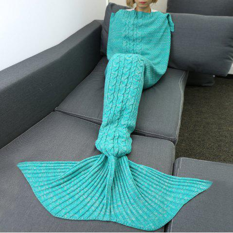 Buy Hemp Flower Comfortable Knitting Sofa Mermaid Blanket - Green L