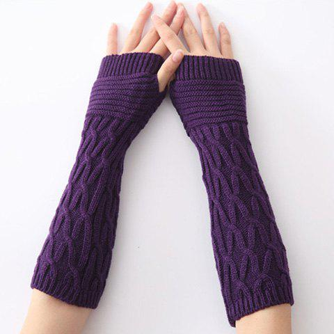 Christmas Winter Criss-Cross Crochet Knit Arm Warmers - Deep Purple