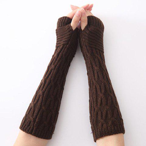 Hot Christmas Winter Criss-Cross Crochet Knit Arm Warmers - COFFEE  Mobile