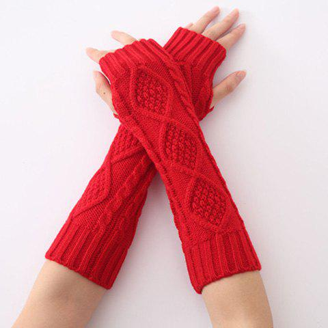Chic Christmas Winter Rhombus Crochet Knit Arm Warmers RED