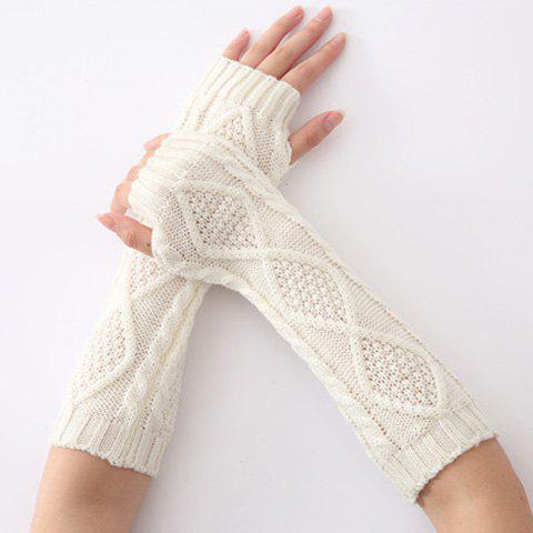 Affordable Christmas Winter Rhombus Crochet Knit Arm Warmers WHITE