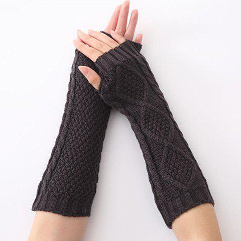 Fancy Christmas Winter Rhombus Crochet Knit Arm Warmers - DEEP GRAY  Mobile