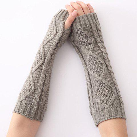 Store Christmas Winter Rhombus Crochet Knit Arm Warmers LIGHT GRAY