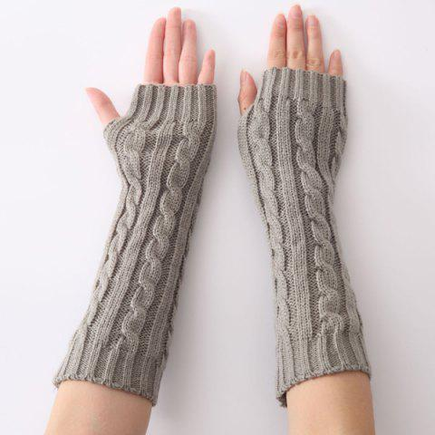 Outfits Christmas Winter Hemp Flowers Crochet Knit Arm Warmers LIGHT GRAY