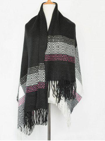 Affordable Winter Boa Rhombus Tassel Big Square Scarf BLACK