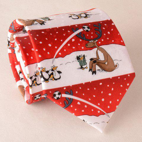 Cheap Sleepover Carnival Penguin Deer Playing Football In The Snow Christmas Tie
