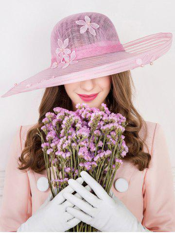 Buy Sororal Party Flower Embroidery Faux Pearl Church Hat PINK