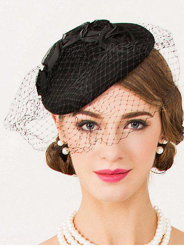 Chic Sororal Party Flower Veil 1940s Fascinator Hat BLACK