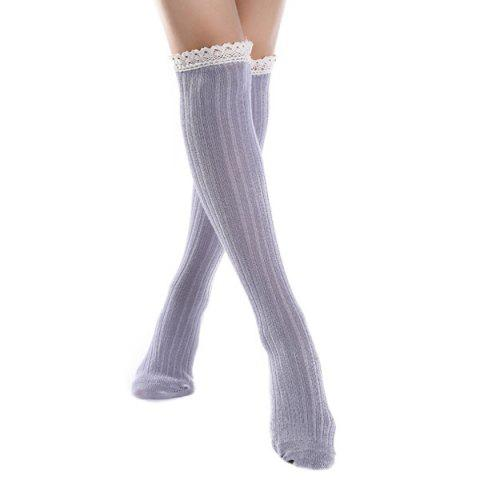 Knit Ribbed Stockings with Lace Trim - Light Gray