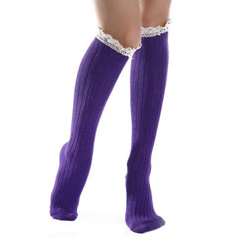 Shops Knit Ribbed Stockings with Lace Trim DEEP PURPLE