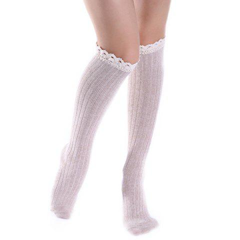 Knit Ribbed Stockings with Lace Trim - Off-white - 2xl