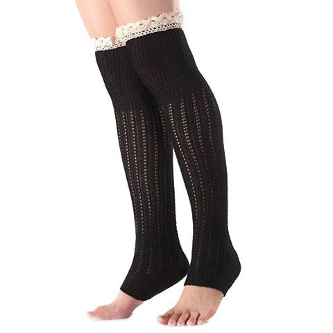 Latest Christmas Winter Lace Edge Knit Footstep Leg Warmers BLACK
