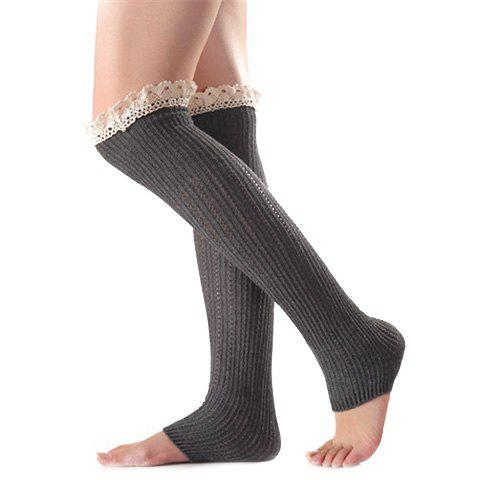 Christmas Winter Lace Edge Knit Footstep Leg Warmers - Deep Gray