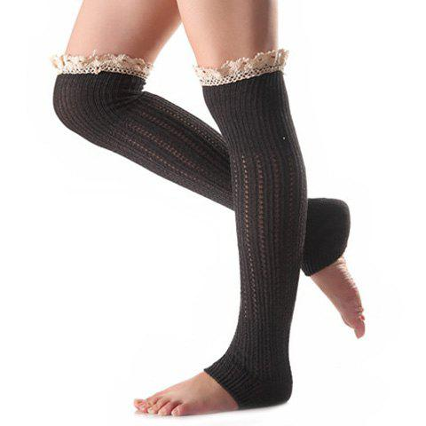 Christmas Winter Lace Edge Knit Footstep Leg Warmers - Black Grey