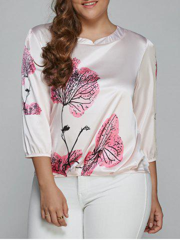 Fashion Floral Print Ruched Plus Size Blouse PINK 5XL