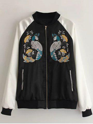 Affordable Peacock Embroidered Bomber Jacket BLACK S