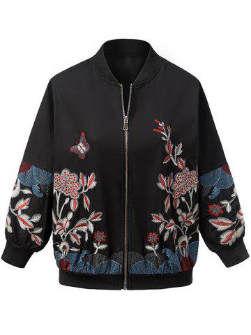 Outfit Vintage Butterfly Flower Embroidered Jacket BLACK L