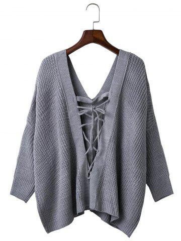Loose Back Lace Up Plunge Neck Sweater - Gray - One Size
