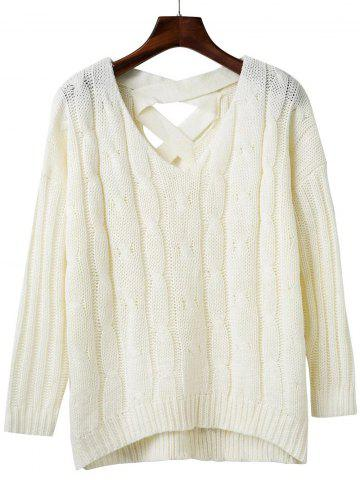 Buy Loose Criss Cross Cable Knitted Sweater