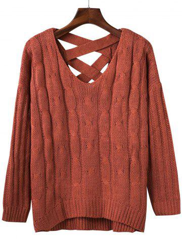 Fashion Loose Criss Cross Cable Knitted Sweater
