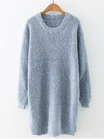 Chic Preppy Style Fitted Warm Long Sweater LIGHT BLUE ONE SIZE